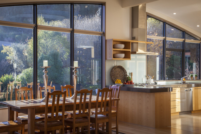 Spacious kitchen and dining with views to the Gondola and mountains