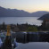 Outdoor hot tub with views over lake and mountains