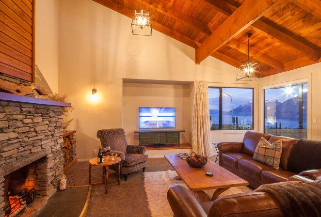 Living room with view over lake